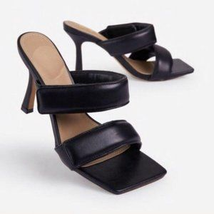 Padded Adjustable Velcro Square Toe Mules in Black